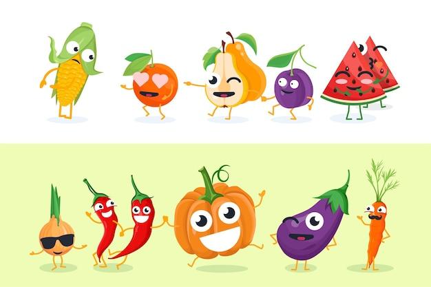 재미있는 과일과 야채 - 흰색과 노란색 배경에 벡터 격리된 문자 그림 세트. 옥수수, 배, 자두, 호박의 귀여운 이모티콘. 만화 이모티콘의 고품질 컬렉션