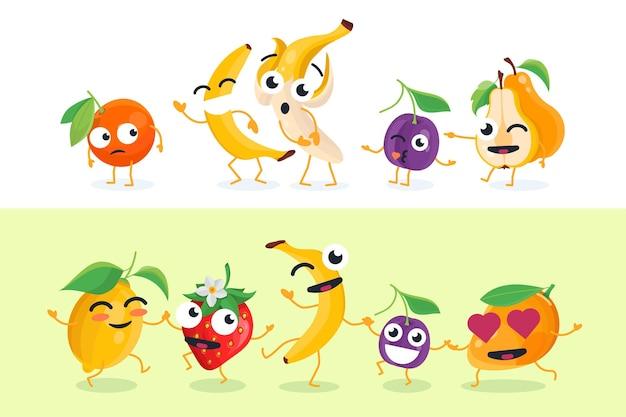 재미있는 과일 - 흰색과 노란색 배경에 벡터 격리된 문자 그림의 집합입니다. 바나나, 자두, 레몬, 딸기, 오렌지, 망고의 귀여운 이모티콘. 만화 이모티콘의 고품질 컬렉션