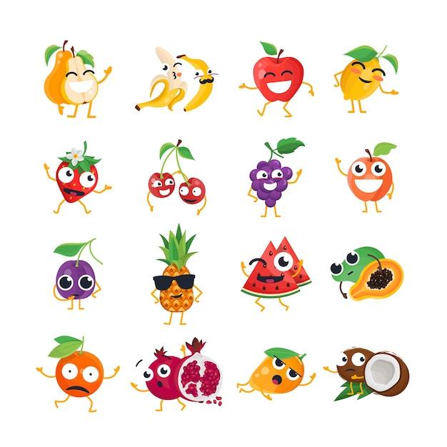재미 있는 과일-벡터 격리 만화 이모티콘입니다. 멋진 캐릭터가 있는 귀여운 이모티콘 세트. 흰색 바탕에 화나고, 놀라고, 행복하고, 쾌활하고, 미쳤고, 웃고, 슬픈 음식 모음