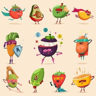 슈퍼 히어로 의상에서 재미있는 과일과 야채. 귀여운 음식 벡터 만화 평면 문자 집합입니다. 건강한 식습관과 라이프 스타일에 대한 개념 그림입니다.
