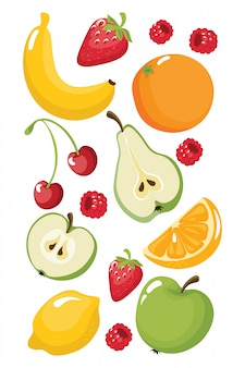 Funny fruits banana, orange, strawberry, apple, pear, lemon, cherry, raspberries. juicy food