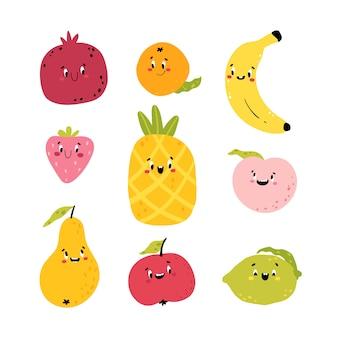 面白い果物。かわいいキャラクターの漫画コレクション。食べ物のかわいい顔。あなたのデザインのカラフルな幼稚なイラスト。白い背景で隔離