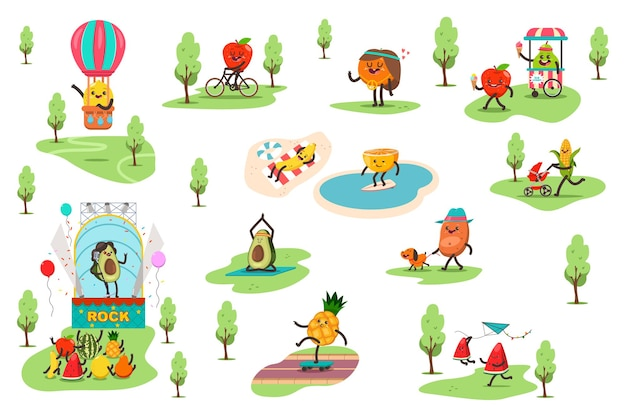 Funny fruits in the park spend different outdoor activities and play sports