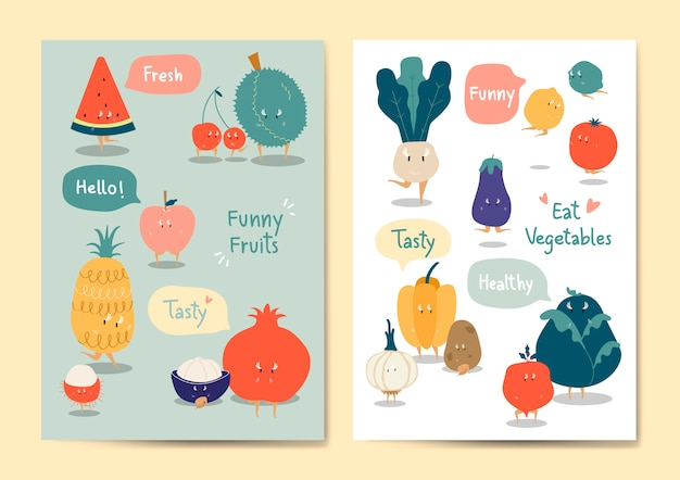 Funny fruits and vegetables vector set