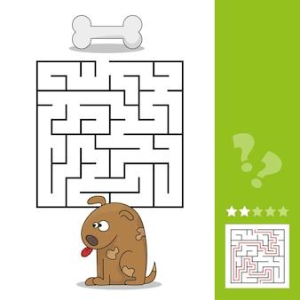 子供の教育のための面白いゲーム。迷路-簡単なレベル。漫画の犬が骨を見つけるのを手伝ってください。ベクトルイラスト