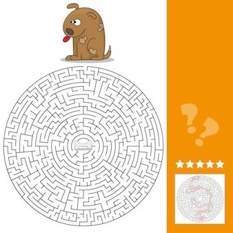 子供の教育のための面白いゲーム。迷路-高レベル。漫画の犬が骨を見つけるのを手伝ってください。ベクトルイラスト