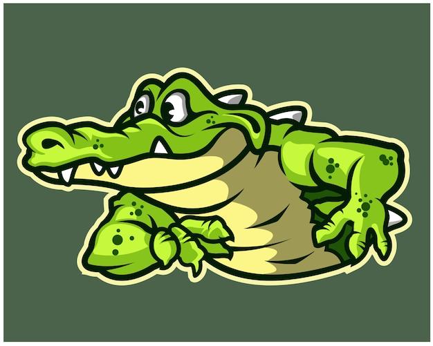 Funny gator cartoon mascot