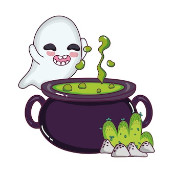 Funny ghost character and pot cauldron