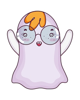 Funny ghost character wearing glasses