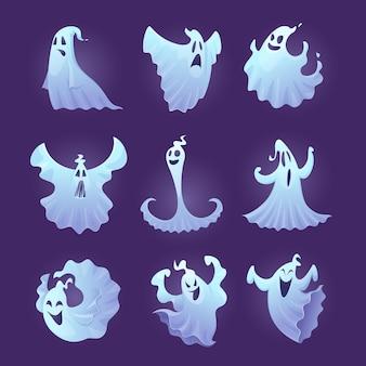 Забавный призрак. хэллоуин страшные персонажи маленькие жуткие призраки векторные иллюстрации. призрак похожий на привидение, призрак персонажа-призрака, улыбка на хэллоуин