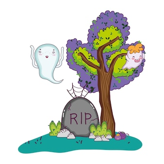 Funny ghost with rip stone and spider