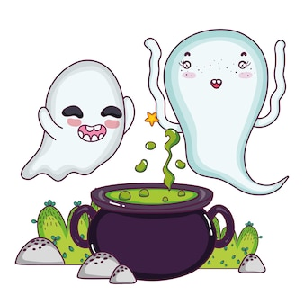 Funny ghosts cooking pot cauldron