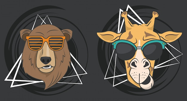 Funny giraffe and bear with sunglasses cool style