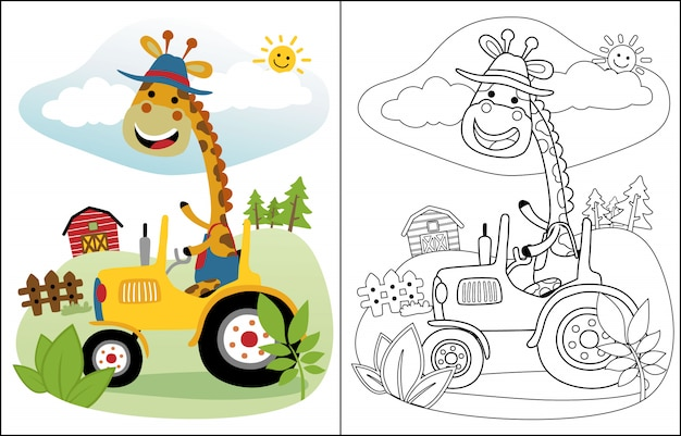 Funny giraffe cartoon on tractor