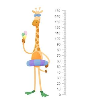 Забавный жираф. веселый забавный жираф с длинной шеей.