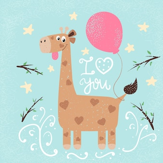 Funny giraffe illustration. print for you idea.