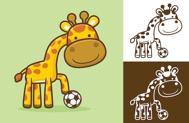 축구 공으로 재미있는 기린. 평면 아이콘 스타일의 만화 그림