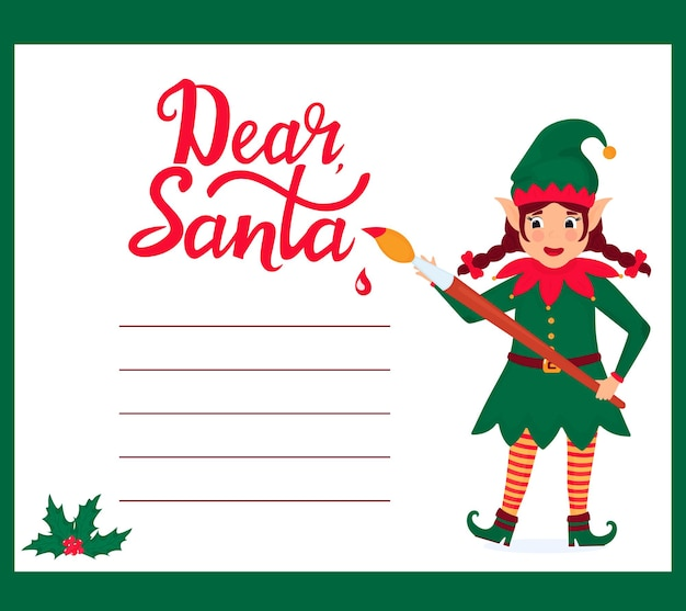Funny girl elf with a paint brush writes a letter to santa claus.