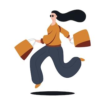 面白い女の子の買い物客漫画は、白い背景で隔離のイラストをショッピングします。