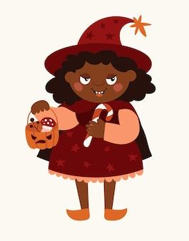 魔女の衣装を着た面白い女の子。フラットベクトルイラスト。