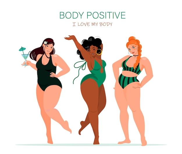 다양한 포즈의 매력적인 모양을 가진 수영복을 입은 재미있는 소녀들. 당신의 몸을 사랑하라. 프리미엄 벡터