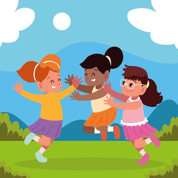 Смешные девочки, играющие открытый мультфильм