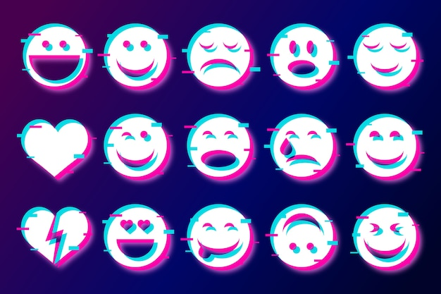 Funny glitched emojis for chats collection