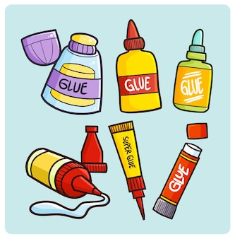 Funny glue packaging collection in simple doodle style