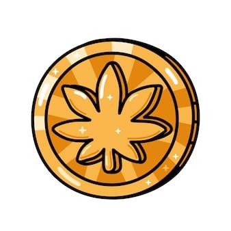 재미있는 황금 대마초 마리화나 잎 동전. 벡터 손으로 그린 만화 귀여운 캐릭터 그림입니다. 흰색 배경에 고립. 대마초, 대마초, 마리화나 동전, 암호화 통화, 디지털 화폐 개념