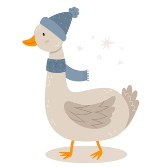 Забавный гусь зимней шляпе новогодний персонаж скандинавском стиле