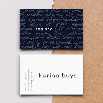Прикольный графический шаблон визитной карточки в плоском дизайне