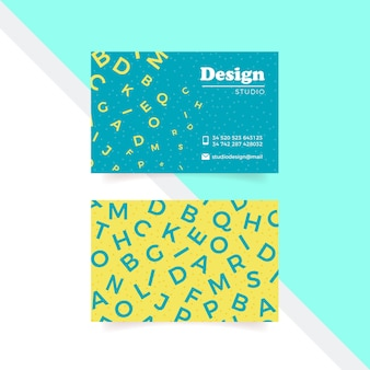 Funny graphic designer business card template with letters