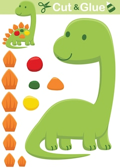 Funny green stegosaurus cartoon. education paper game for children. cutout and gluing