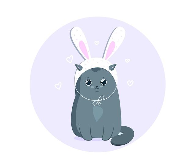 Забавный серый кот в шляпе белого пасхального кролика