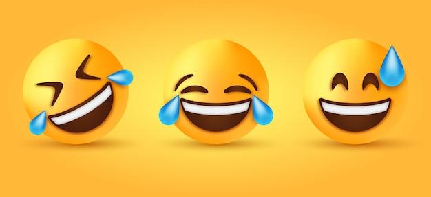 Смешное улыбающееся лицо смайлика со слезами радости и катящийся смеющийся смайлик с эмоциями пота