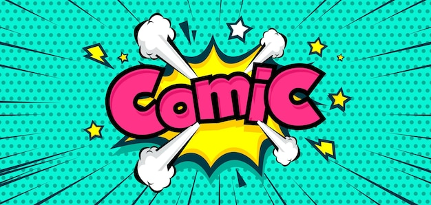 Funny halftone comic background with cloud and star