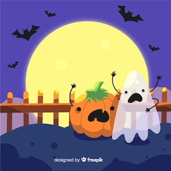 Funny halloween background in flat design