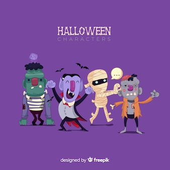Funny halloween character collection with flat design