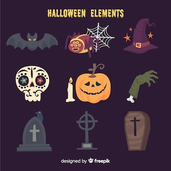 Funny halloween elements collection