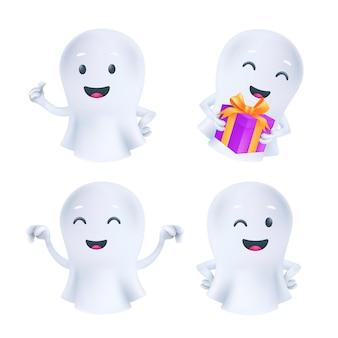 さまざまなポーズや顔の感情の面白いハロウィーンの幽霊。フレンドリーなファントムアイコン。明るい背景で隔離の白い布のかわいい白い魂の3d文字ベクトルセット