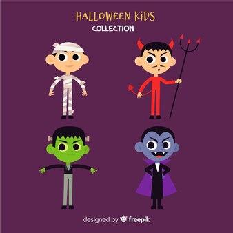 Funny halloween kids character set