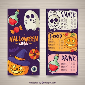 Funny halloween menu with hand drawn style