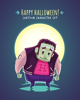 Funny halloween mutant.  cartoon character illustration