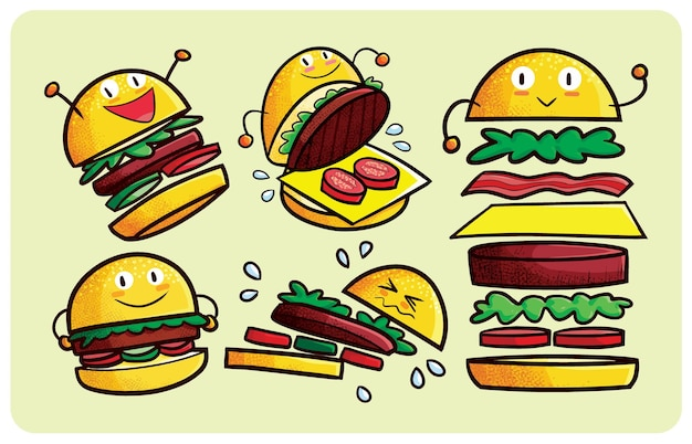 귀여운 스타일로 설정된 재미있는 햄버거 캐릭터 표현