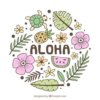 Divertente disegnato a mano sfondo aloha