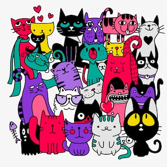 Funny hand drawn cats. animals illustration with adorable kittens doodle