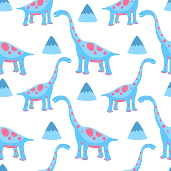 面白い手描きの恐竜。保育園、繊維、子供服のシームレスなパターン。