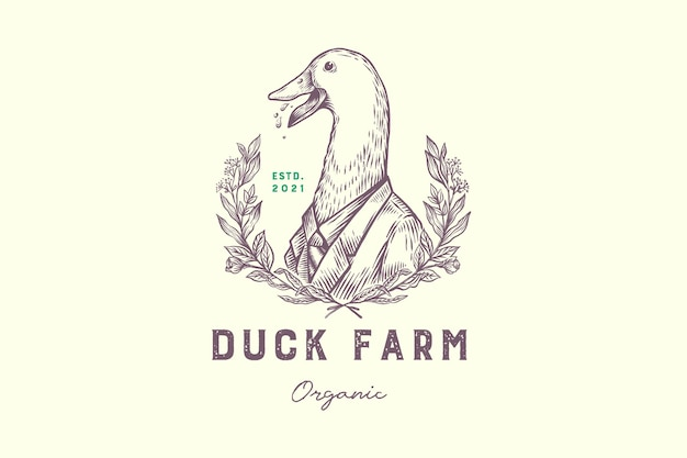 Funny hand drawn duck wearing suite organic farming vintage logo