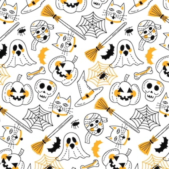 Funny hand drawn halloween pattern