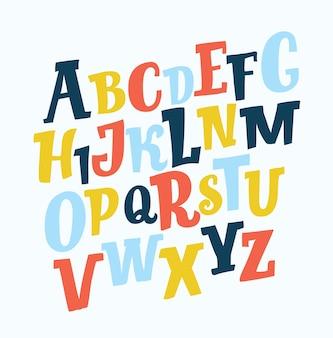 재미있는 손으로 그린 라틴 귀여운 슬래브 기울어 진 abc 다른 색상.